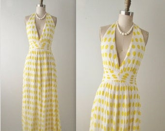 60's Chiffon Halter Gown // Vintage 1960's Polka Dot Chiffon Halter Goddess Evening Gown Dress S