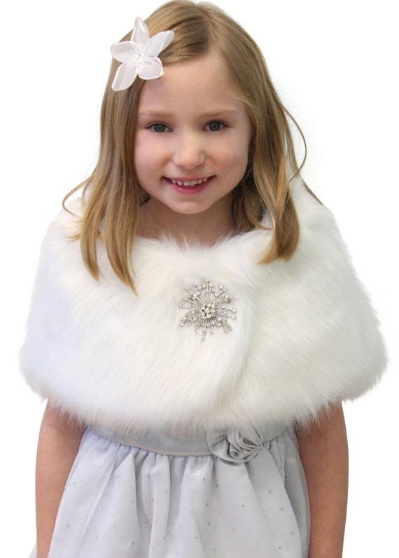 White Faux Fur Wrap Fox for FLOWER GIRLS