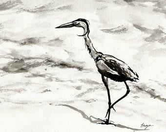 Ink Painting - Crane Wildlife Sumi-e Japanese Brush Painting - Heron Bird Art Print