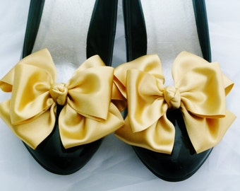 Gold Shoe Clips Pinup Burlesque Satin Bows for Shoes Retro Vintage Style by Seriously Sassyx