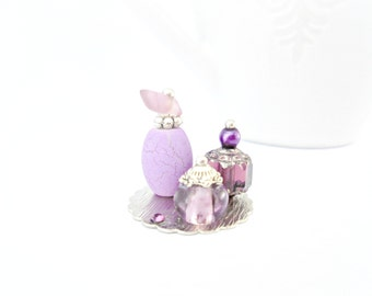 One Inch Scale Doll House Miniature 12th Perfume Bottle Ladies Vanity Set Purple