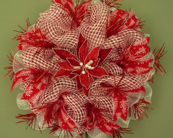 Red White Wreath,  Christmas Wreath, Christmas in July, Poly Mesh Wreath (880)