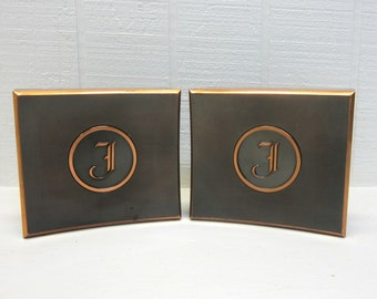 Vintage Metal Bookends Art Deco With Letter F
