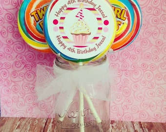 set of 12 cupcake birthday lollipop stickers, extra large cupcake stickers, pink and brown striped lollipop birthday stickers