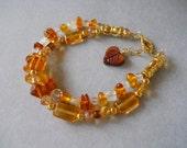 SALE! Gemstone Bracelet, Golden Yellow Bracelet, Two Strand Bracelet, Adjustable Bracelet, Amber, Moonstone, Crystal, Glass, Maple Sugar