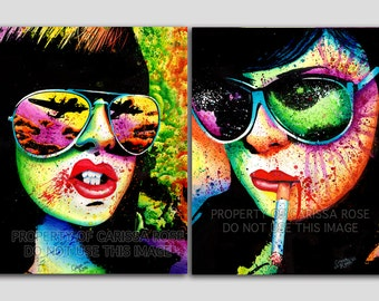Set Of TWO Separate Pop Art Splatter Portrait Signed Prints - Here Come The Bombs and At A Glance Set - 5x7, 8x10, or apprx. 11x14 in Prints