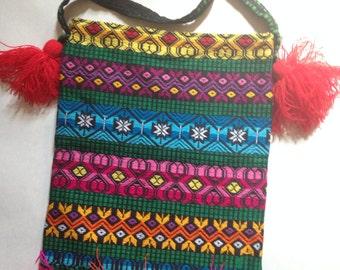 Guatemalan Rainbow Bright Bag with Fringe