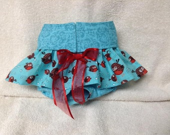 Female Dog Diaper Skirt Panties Britches Pet Wrap Size XXSmall To XLarge Robin   Fabric