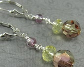 Yellow Earrings, Pink Earrings, Jonquil Earrings, Antique Pink Earrings, Crystal Earrings, Silver Earrings