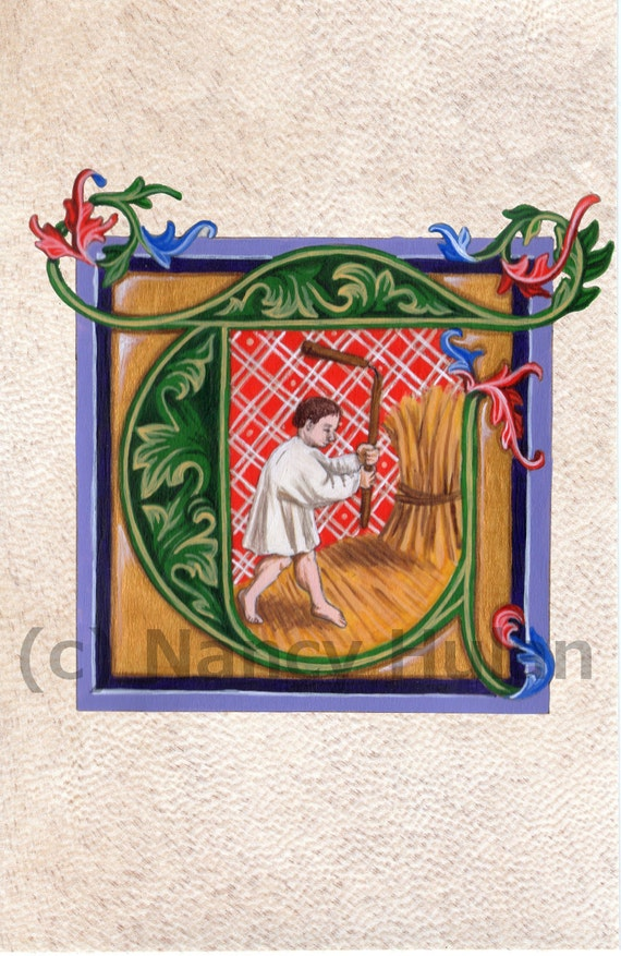 Medieval Illuminated Letter T, Alphabet Letter T, Medieval Painted ...