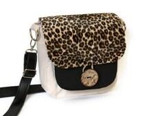 Sale - Small Crossbody Bag - Cross Body Bag - Khaki Crossbody Purse - Leopard Print Bag - Fabric Bag