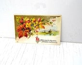 Antique Fall Decor Postcard, Vintage Fall Leaves Embossed Postcard, Beautiful Fall Scene