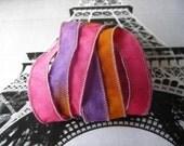 Hand Dyed Painted Habotai Silk Wrap Bracelet - hot pink purple butterscotch - Silk Fairy Ribbon DIY wrap bracelet Silk Bracelet  Ribbon
