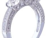 18k white gold round cut diamond engagement ring antique 1.60ct h-vs2 egl usa