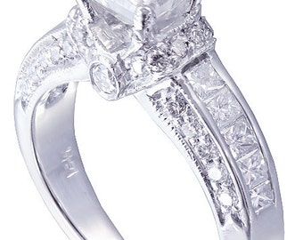 18k white gold princess cut diamonds engagement ring deco 1.90ctw h-vs2 egl usa