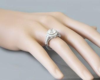14k white gold round cut moissanite and engagement ring art deco 2.85ct