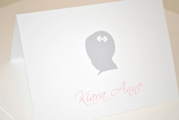 Vintage Girl Silhouette Thank you Cards