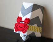 NEW!! Grey, Red, and Yellow -  Chevron and Crab - Children's Night Light
