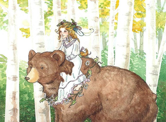 Bear Maiden - Original watercolor painting