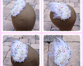 Sale White Ivory Feather Swarovski Crystal Haircomb