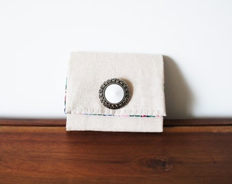 CLEARANCE-- Cream Linen Business Card Holder with White and Silver Button