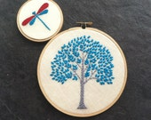 Tree & Dragonfly hand embroidered hoop art orange magenta citrine aqua purple spring green home decor by mlmxoxo