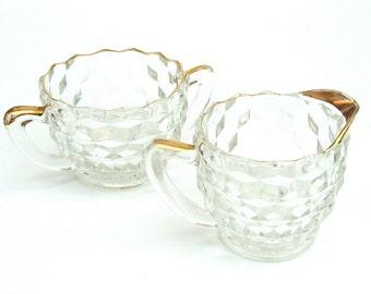 Vintage Fostoria American Cream and Sugar Set, Creamer, Gold Trim, Mid Century Housewares, Clear Glass
