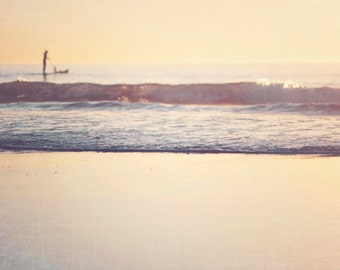 "Sunset Photograph, Yellow Orange Decor, Paddle Boarder, Surf Art, Beach Art, Abstract, Seascape, Wave Photograph, ""Paddle Boarder"""
