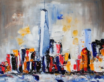 The City That Never Sleeps-22x28 Abstract Contemporary Impressionism New York City Oil Painting