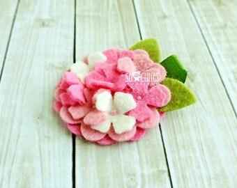 Pink and white Hydrangea Felt Headband or Felt Hair Clip Felt Flower Headband, newborn headband, baby headband, girl headband.