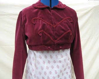 Regency Spencer Jacket. CUSTOM, MADE . Jane Austen. Various Styles, Colours, Fabrics.