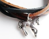 Leather Bracelet Horse Jewelry Teen Girl Teen Boy Gift Women Men Gift - B153