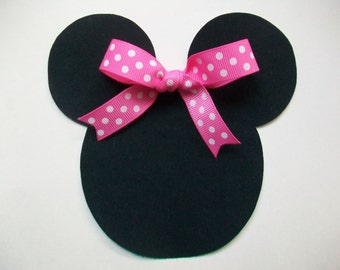 Iron On Minnie Mouse Applique with Ribbon Bow
