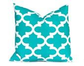 Turquoise Pillow Decorative Pillow Throw Pillow Cover Toss Pillow Cushion Cover Toss Pillow One All Sizes Turquoise White Tiles
