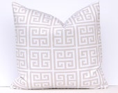 Pillow Covers Greek Key Tan Decorative Throw pillow covers set of two 18 x 18 Inches Tan and White Greek Key