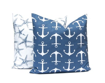 Decorative Pillow Covers - Navy Blue Pillow Covers, Throw Pillow Cover, Nautical Decor, Anchor Pillow, Beach Decor, Decorative Pillow