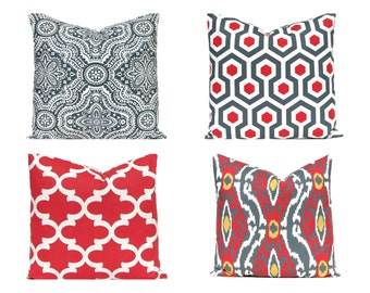 Red and Gray Pillow Covers - Red Pillow Covers - Charcoal Gray and Red Honeycomb - Red Cushion Covers - Damask and Ikat Pillow Covers