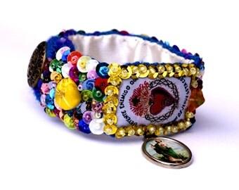 Sacred Heart scapular sequined embroidered bracelet