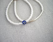 Silver tube bracelet, evil eye beaded bracelet, silver plated tube, stacking bracelet, minimalist bracelet, set of 2