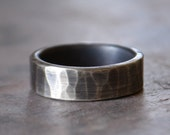 Men's Wedding Band Comfort Fit Hammered Sterling Silver Rugged 6mm Band