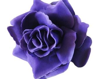 Dark Purple Rose flower Hair Clip 4 Inch.