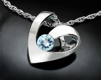 aquamarine necklace, March birthstone, heart necklace, for her, Argentium silver, wedding pendant, valentine gift - 3401