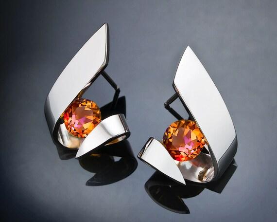mystic topaz earrings, statement earrings, Argentium silver earrings, modern earrings, tension set gemstones, fine jewelry, for her - 2440