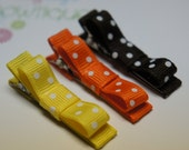 Set of 3 Fall clips in Brown, Yellow and Orange
