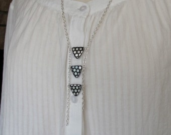 Silver Necklace, Modern Tribal, Black and Silver, Polka Dot Triangles, Jablonex Glass, 26 inches long