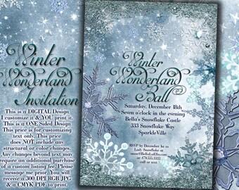 Winter Wonderland Party, Winter Snowflake Invitation, Winter Party Invitation, Snowflake Invitation, Christmas Party Invitation