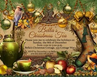 il_340x270.527261378_go3t victorian christmas tea party invitation holiday tea party,Christmas Tea Party Invitations
