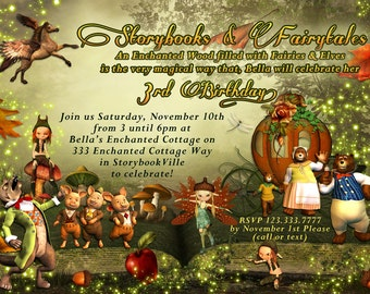 Fall Birthday, Fall Storybook Party, Fairytale Party Invitations, Storybook Fantasy Party Invitations,