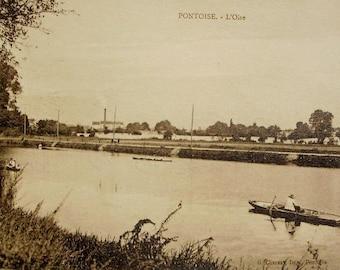 Unused Vintage French Postcard - River Oise, Pontoise, France