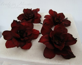 Wedding hair accessories Red black delphinium bobby pins set of 4 Bridal hair flowers